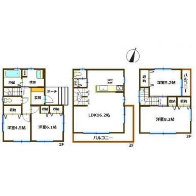 間取り図 全室収納スペース付きの4LDK。